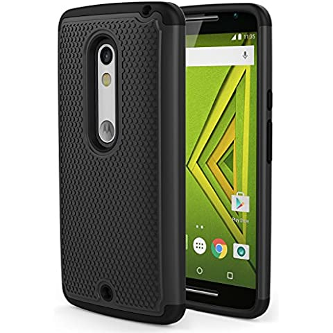 Moto X Play Phone Funda - MoKo [Anti Drop] Hard Polycarbonate + Silicone Protector Bumper Funda para Moto X Play / Droid Maxx 2 5.5 Inch 2015 Smartphone, Negro (Not for Moto X Previous