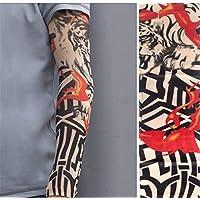 BIANJESUS Mangas Del Sol Mangas Del Tatuaje Hombres Manguito Protector Solar Fresco Mangas Del Brazo Bicicleta De Conducción Protección Contra Los Rayos UV Hombres Mujeres Joven Ciclismo,Red