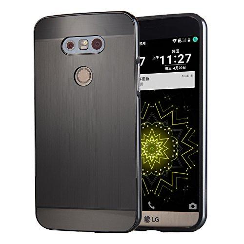 AIBULO® PC + Metall Dual-Werkstoff Telefon Rüstung Bumper Protictive Case hülle/tasche/Schutzhülle für LG G5 (für LG G5, schwarz)