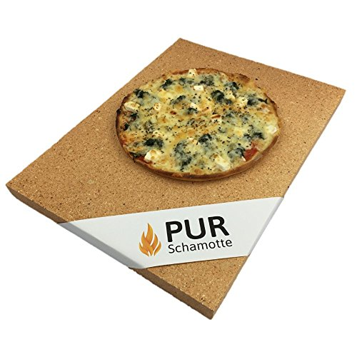 PUR Schamotte Pizzastein Gasgrill Backofen Grill 40 x 30 x 3 cm Eckig Lebensmittelecht