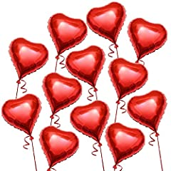 Idea Regalo - Romantici, San Valentino, Palloncini Rossi a Forma di Cuore - Gonfiabili ad Aria o Elio - per Eventi Matrimoni Cerimonie Feste Fidanzamento e Decorazioni - 45 CM (Confezione da 12)
