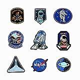 Hangnuo - Toppe termoadesive per bambini motivo spazio e alieni, ricamate, 10 pezzi 4
