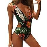 IZHH Damen Monokini Swimwear Beachwear Push Up Bikini Badeanzug Frauen Monokini Swimwear Beachwear Push Up Bikini Badeanzug One Piece Badeanzu Triangel NackenträGer(Grün,Medium)