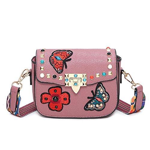 GZHOUSE Stilvolle PU-Leder gestickte Kreuz Körper Schulter Messenger Bag Handtasche mit bunten breiten Strap (Leder-nylon-schulter-bag -)