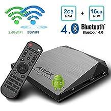 Android 7.1 TV Box, GooBang Doo 2018 ABOX A1 Plus Smart TV Box 2GB + 16GB Amlogic Quad Core Bi-bande WiFi 5Ghz et 2.4Ghz Support Réel 4K UHD Bluetooth 4.0