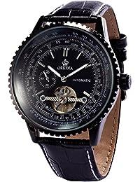ORKINA ORK168 - Reloj de Hombre Pulsera Tourbillion Automático Mecánico, Correa de Cuero Color Negro