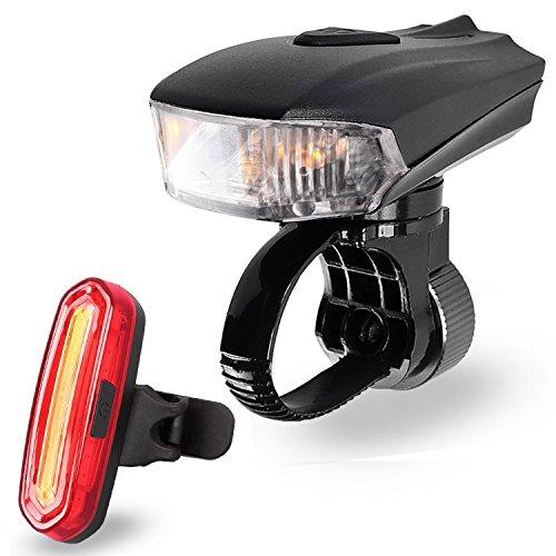 Fahrradlicht Set, AngelaKerry LED Fahhradbeleuchtung USB Wiederaufladbare Super Hell Fahrradlampe 400 Lumen mit Fahrrad Rücklicht, IPX6 Wasserdicht für Außen