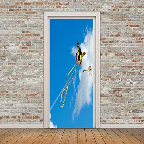DOORWP @ 3D Türaufkleber, 2 Panels Flying Kites In Sky Wandbild Wandbilder Wandaufkleber Türaufkleber Tapete Aufkleber Home Decoration