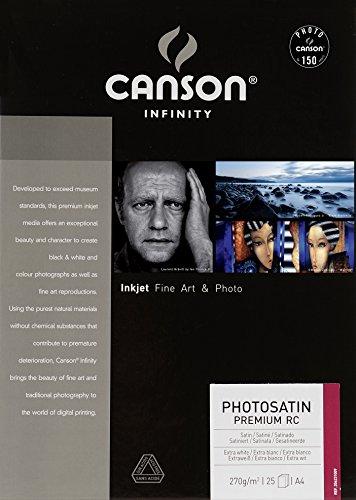 Canson PhotoSatin Premium RC - Papel fotográfico (A4, 25 unidades), extra blanco