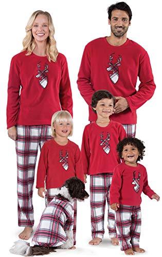 (QIANXIAN Weihnachten Pyjamas Familienurlaub Streifengitter Weihnachten Pyjamas Schlafset Weihnachten PJ Reine Baumwolle Nachtwäsche Winter,Men,XL)