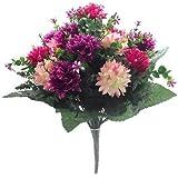 Bouquet di fiori artificiali, 41 cm, con mammole rosa intenso/vinaccia