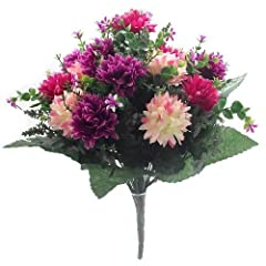 Idea Regalo - Bouquet di fiori artificiali, 41 cm, con mammole rosa intenso/vinaccia