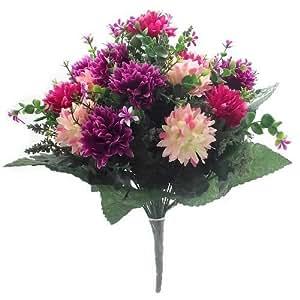 Fiori Artificiali-41cm Spikey crisantemo Mixed Bush Hot Pink & Wine