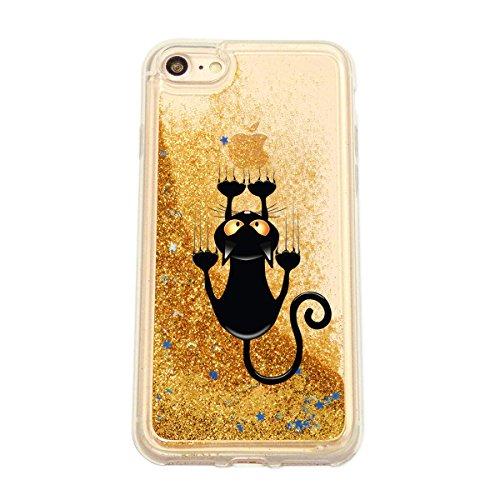 finoo | Iphone 6 Plus / 6S Plus Flüssige Liquid Goldene Glitzer Bling Bling Handy-Hülle | Rundum Silikon Schutz-hülle + Muster | Weicher TPU Bumper Case Cover | Katze auf Ast Katze kurz