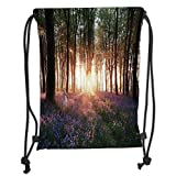 Icndpshorts Farm House Decor,Stunning Bluebell Woods Sunrise with White Rabbit Sunny Spring Day in Woodland,Purple Green Soft Satin,5 Liter Capacity,Adjustable String
