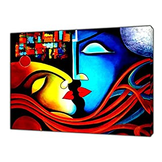 Romantic Couple Abstract Oil Paint Reprint On Framed Canvas Picture Wall Art Home Decoration 24 x 20inch - 38mm depth