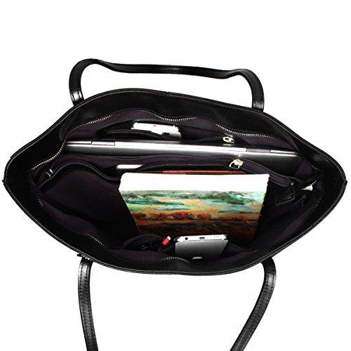 S-ZONE Morbida Genuine Leather Tote della maniglia di spalla delle donne del sacchetto di Fit 14 in computer portatile A-Nero