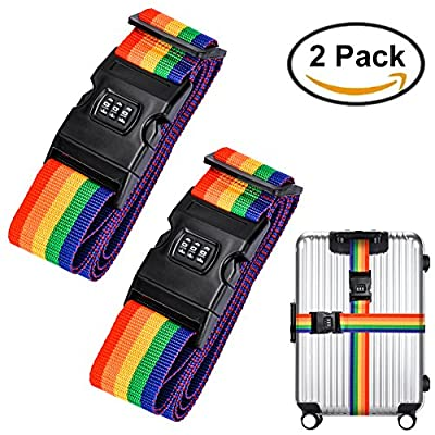Set of 2 Extra Luggage Security Strap,ZOTO Adjustable Package Belt Strap with Password Lock Clip for Travel Business Suitcase Bag