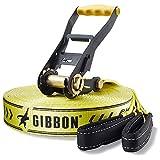 Gibbon Slacklines Classic Line, Gelb, 25 Meter, 22,5m Band + 2,5m Ratchendband, Anfänger, Beginner und Einsteiger, inklusive Ratschenschutz und Ratschenrücksicherung, 50 mm breit, perfekter Freizeitsport