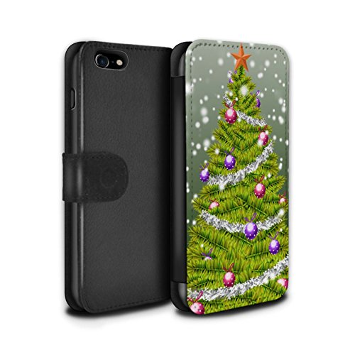 Stuff4 Coque/Etui/Housse Cuir PU Case/Cover pour Apple iPhone 8 / Violet Design / Sapin/Arbre de Noël Collection Vert