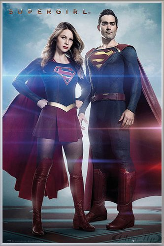 Close Up Supergirl Poster Duo (93x62 cm) gerahmt in: Rahmen Silber ()