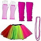 Néon UV gants Jupe Tutu Jambières perles robe de fête années 80pour femme Ensemble Jupe danse (femmes: 12–14, arc-en-ciel)