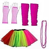 NEON UV Tutu Rock Handschuhe Stulpen Perlen Set Fancy Kleid 80er Party Kostüm Dance Rock Set (Frauen: 12–14, Rainbow)