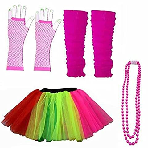 NEON UV Tutu Rock Handschuhe Stulpen Perlen Set Fancy Kleid 80er Party Kostüm Dance Rock Set (Frauen: 12–14,