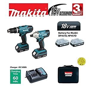 Makita 18V Cordless Twin Set - Combi Drill and Impact Driver (2 x Batteries)