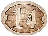 Nr. 14oval Eiche natur Holz House Tür Zahl 20,3x 15,2cm stark geprägt Gravur Natürliche Holz Oberfläche Schild Haus Erwärmung Geschenk (200x 150mm) Nr. 1414rund