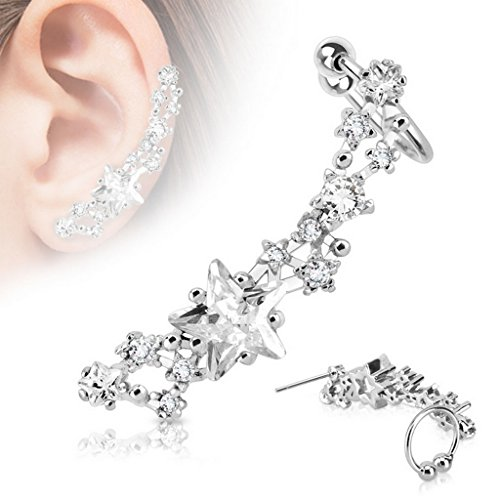 Piercing tragus cartilage skyfall Taille 0,8 mm Clair Forme Oreille Gauche