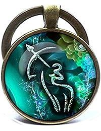 Sagitario signo del zodiaco llavero–Llavero–Azul de signo del zodiaco signo del zodiaco llavero–Llavero, diseño de Sagitario