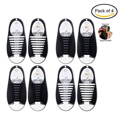 Keine Krawatte elastische Schnürsenkel für Kinder und Erwachsene, Konsait Waterproff No Tie Silikon Flat Shoelaces für Sneaker Stiefel Brettschuhe Freizeitschuhe (Erwachsene, 2 schwarz+2 weiß)