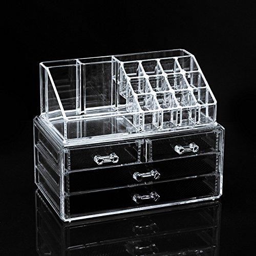 Boîtes de rangement en plastique transparent pour le boîte quatre tiroirs rangement cosmétiques . 24*15*18.6