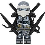 LEGO Ninjago Minifigur Zane Titanium silber schwarz aus Set 70624 incl. 4 GALAXYARMS Schwertern