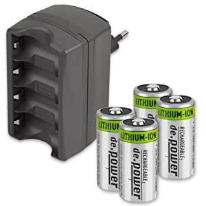 Chg set02 cr123a ensemble de 4 piles rechargeables li ion et chargeur photo - Chargeur piles rechargeables ...
