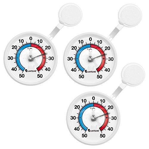 Lantelme 6589 Fensterthermometer Set 3 Stück - AnalogeTemperaturanzeige + / - 50 °C - Kunststoff Farbe weiss