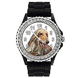 Timest - Afgano - Reloj de Silicona negro para Mujer con Piedrecillas Analógico Cuarzo SGP004