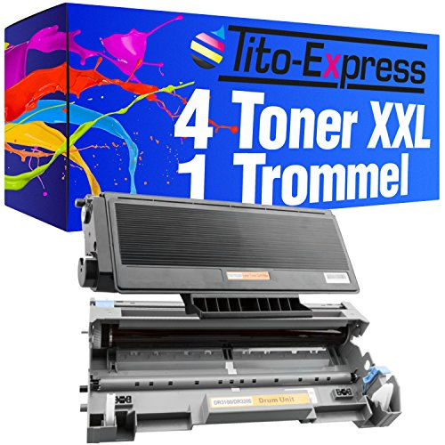 Tito-Express PlatinumSerie 4 Toner-Patronen & Trommel XXL Black kompatibel mit Brother TN3280 & DR-3200 DCP-8890DW HL-5340 HL-5340DW HL-5350 -