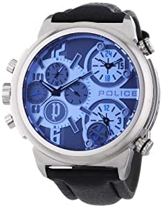 Police Python Men's Quartz Watch with Grey Dial Chronograph Display and Black Leather Strap 13595JS/13
