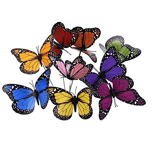 Lot de 18 papillons 3D papillons pot de fleurs décorations de jardin terrasse décoration papillon piquets avec tiges (9 couleurs) 18 PCS 9 Colors