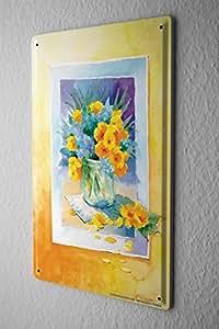 Cartello Targa In Metallo Piante Decoration Congratulazioni Card Bouquet 20X30 cm