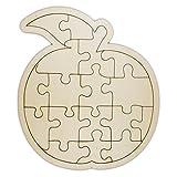 Rombecabezas/Puzzle en blanco de madera en forma de manzana para pintar y decorar uno mismo, 18 piezas, aprox. 24 x 21 cm.