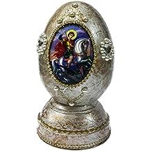Saint George in legno laccato bianco uovo Christian icona con zirconi JERUSALEM 5.1