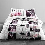 Today 013051Enjoy Zen Spirit–Juego de cama con funda de edredón/2fundas de almohada algodón blanco/negro/rosa 240x 260cm