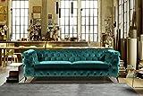 KAWOLA Sofa NARLA Chesterfield Stoff grün 3-Sitzer B/H/T: 225x91x72cm