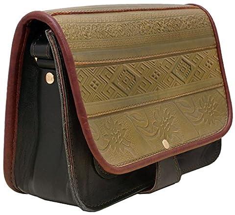 Koson Leather Schulter-Handtaschen-Kurier-Beutel der grünen handgemachten Frauen