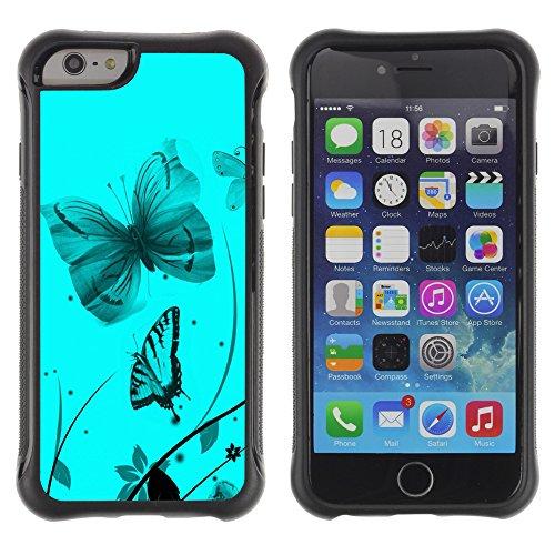 Graphic4You Blue Butterfly And Flowers Design Shockproof Anti-Rutsch Weichen Hülle Case Tasche Schutzhülle für Apple iPhone 6 / 6S Design #9