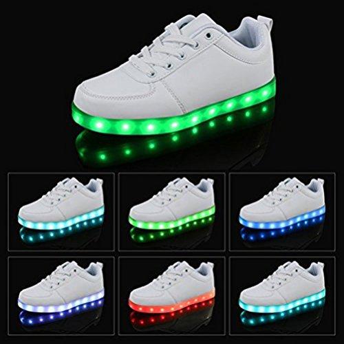 [Présents:petite serviette]JUNGLEST 7 Couleur Unisexe Homme Femme USB Charge LED Lumière Lumineux Clignotants Chaussure Blanc