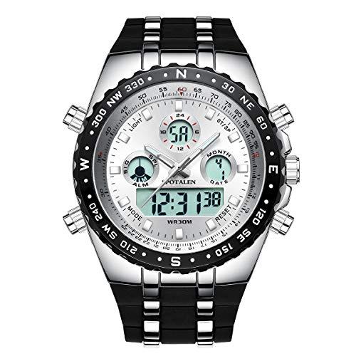 Herren Sportuhren Big Face Outdoor Military Digital Armbanduhr Wasserdicht Hintergrundbeleuchtung Chronograph Uhren für Männer Weiß SP1605W